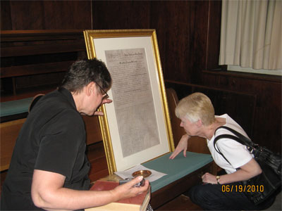 Marty Van Doren Searight and Suzanne Wilson Carrp Viewing Wedding Certificate
